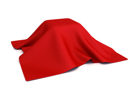 unveil: surprise box covered with red cloth. 3d render illustration Stock Photo