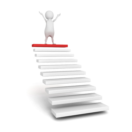 success 3d person on the top of steps or stair ladder. concept 3d render illustration Stock Photo
