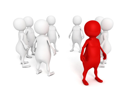 standing out from the crowd: individual red 3d man standing out from crowd. leadership concept 3d render illustration Stock Photo