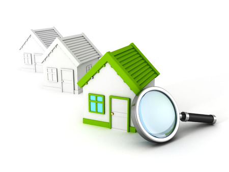 reai estate house search with magnifier glass. concept 3d render illustration illustration