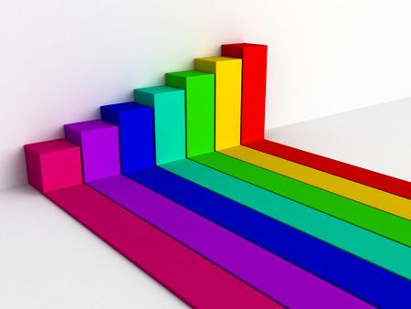 busines: colorful rising busines bar graph diagram. 3d render illustration
