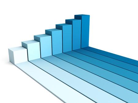 busines: blue rising busines bar graph diagram. 3d render illustration