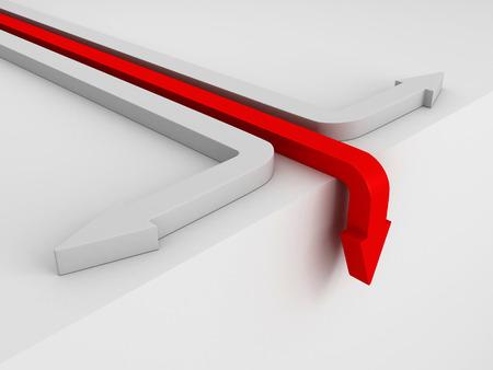humilde: flecha roja que cae abajo. Concepto de la crisis 3d hacer ilustraci�n Foto de archivo