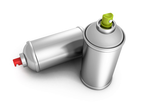 two metallic blank spray paint graffity cans. 3d render illustration illustration