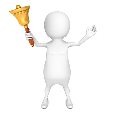 white 3d person holding gold hand bell. 3d render illustration