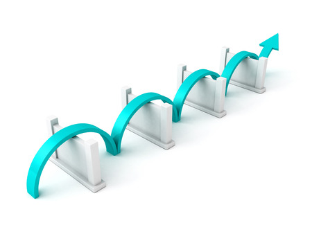 blue success arrow overcome barriers. concept 3d render illustration