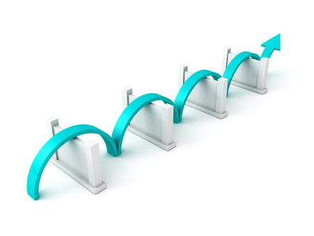 overcome: blue success arrow overcome barriers. concept 3d render illustration