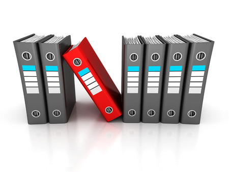 row of ring binders with one different red folder. business 3d render illustration illustration