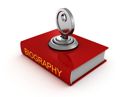 biography: biography book with lock key. private security concept 3d render illustration Stock Photo