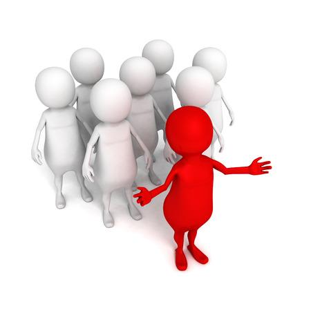 brigade: 3d person leader and team. business success leadership concept 3d render illustration