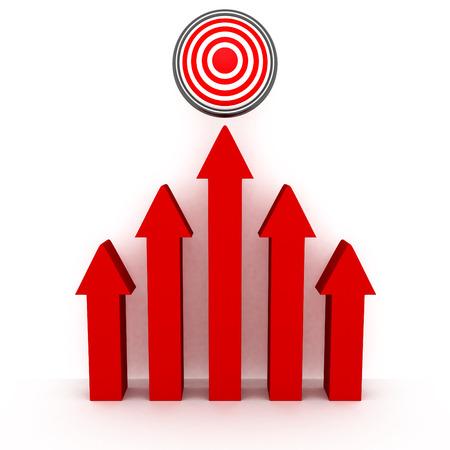plan de accion: elevándose flechas rojas a target éxito. concepto 3d ilustración Foto de archivo