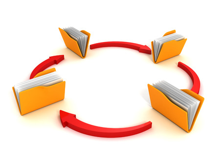 Folders and arrows. Concept of data downloading 3d render illustration