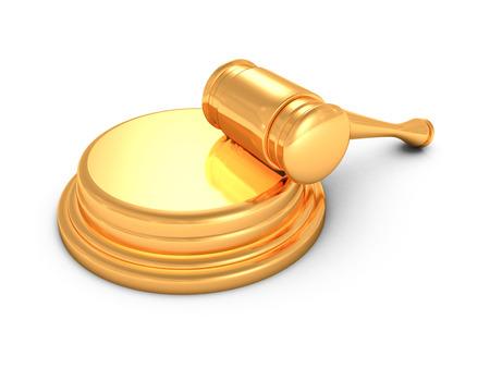 arbitrater: golden judges gavel on white background. 3d render illustration Stock Photo