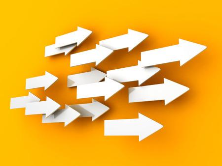 many 3d arrows flow in same direction. teamwork success concept 3d render illustration