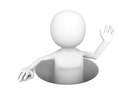 untouched: 3D man popping out from a hole. 3d render illustration
