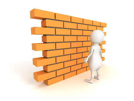 white 3d man with brick wall. 3d render illustration illustration