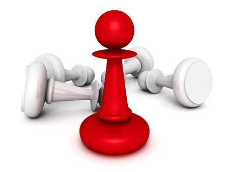 strategic position: leadership concept red pawn forward white pawns team group. 3d render illustration