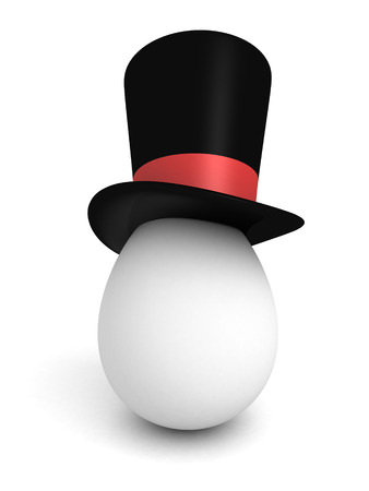 intrigue: egg wearing a Classic black cylinder hat. 3d render illustration Stock Photo