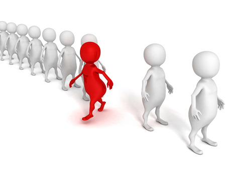 red different 3d person walks out from crowd. success individuality concept 3d render illustration illustration