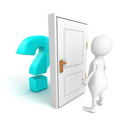3d man with blue question mark behind door. 3d render illustration illustration