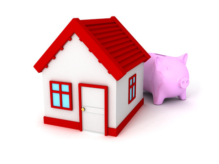 accountig: Piggy Bank with red roof house on white. real estate concept 3d render illustration Stock Photo