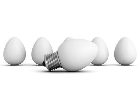 consuetude: different idea light bulb lamp out from eggs crowd. 3d render illustration