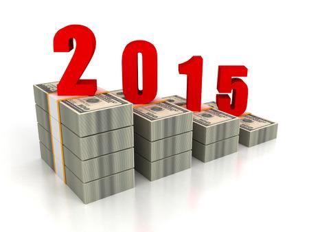 달러 팩 막대 차트 2015 년 성장. 비즈니스 성공 개념 3d 렌더링 일러스트 레이션