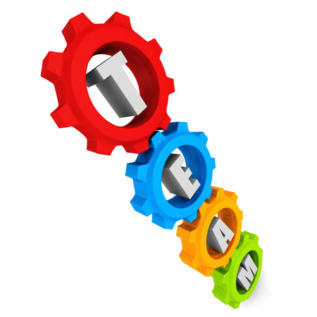 colorful cogwheel gears with team text. 3d render illustration illustration