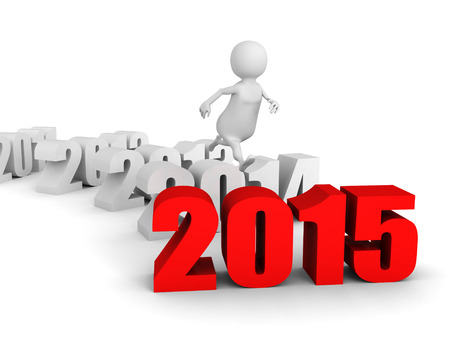 white 3d man jump over new 2015 year. runnung to success. 3d render illustration illustration