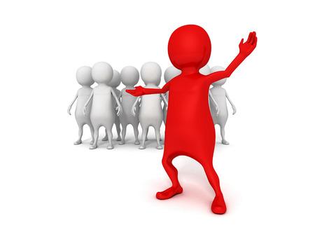 비즈니스 팀 그룹의 3d 지도자. 리더십 팀워크 개념 그림을 3 차원 렌더링