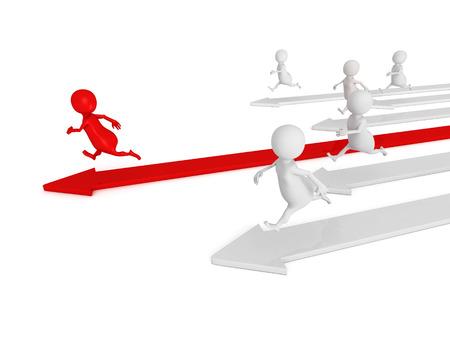 lucky man: 3d men running. competition human race concept 3d render illustration