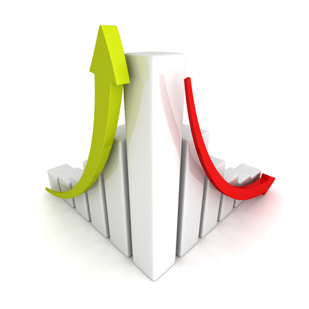 success and crisis financial bar chart with up and down arrow. 3d render illustration