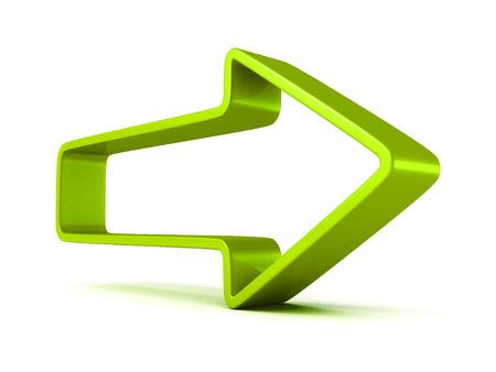 green arrow forward on white background. 3d render illustration illustration