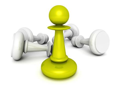 strategic position: leadership concept green pawn forward white pawns team group. 3d render illustration Stock Photo