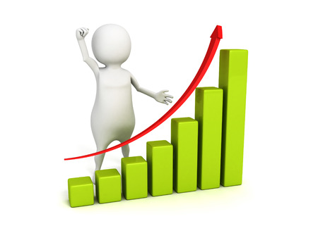3d person presenting business successful growth chart graph. 3d render illustration illustration