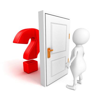 3d man with red question mark behind door. 3d render illustration illustration