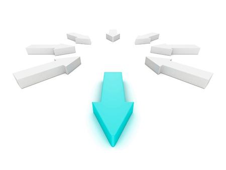 Leader different blue arrow out from white group. 3d render illustration illustration
