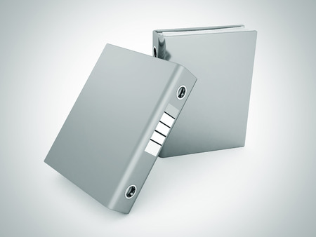 dossier: two office folders ring binders on white. 3d render illustration Stock Photo