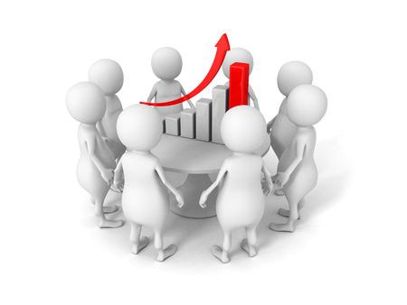 Business planning concept. 3d people around success bar chart. 3d render illustration