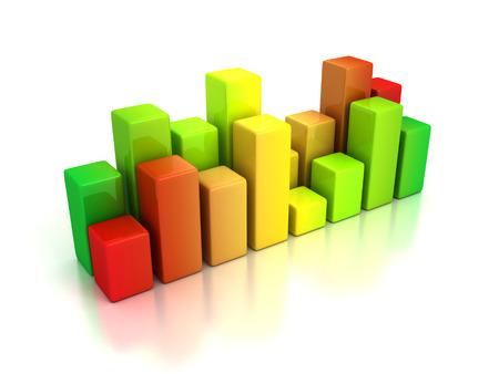 bargraph: business bar graph diagram red green. 3d render illustration Stock Photo