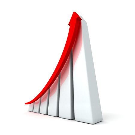 success business graph with rising up arrow. 3d render illustration illustration
