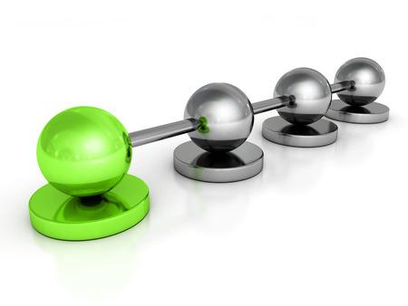 metallic concept sphere network with green leader ball. 3d render illustration illustration
