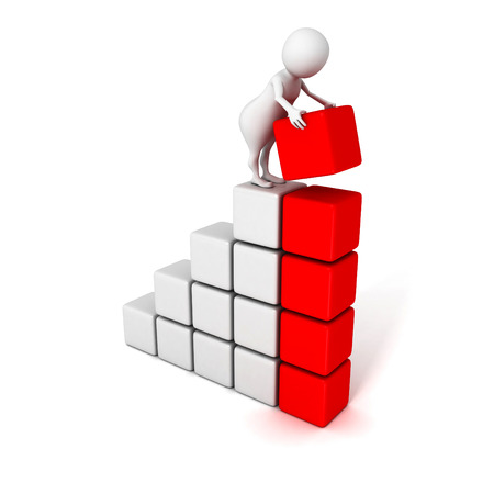 3d human build success business bar chart graph. 3d render illustration illustration