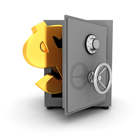 bank safe with golden dollar symbol on white background. 3d render illustration illustration