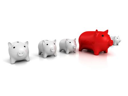 economic interest: best piggy bank choice business finance concept. 3d render illustration