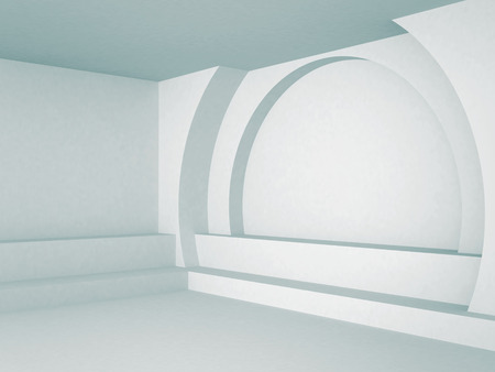 stage door: Abstract Interior Architecture Blue Background. 3d render illustration Stock Photo