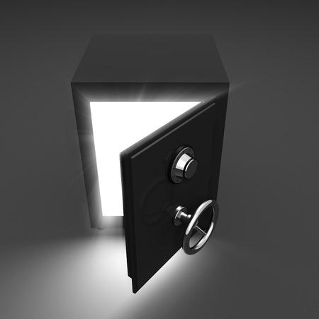 unlocked: Opening safe and volume light on dark background. 3d render illustration Stock Photo