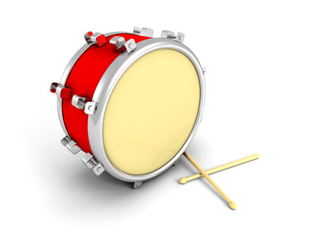 drumsticks: Drum and drumsticks on white background. 3d render illustration Stock Photo