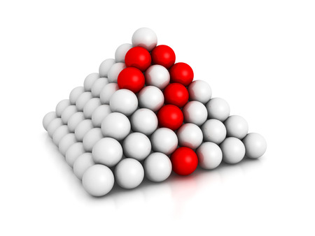 pyramid of spheres with red question mark. 3d render illustration illustration