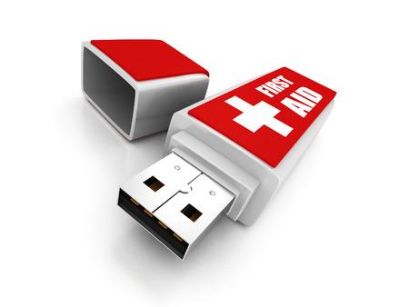 virus informatico: primera unidad flash usb auxilios sobre fondo blanco. 3d ilustración